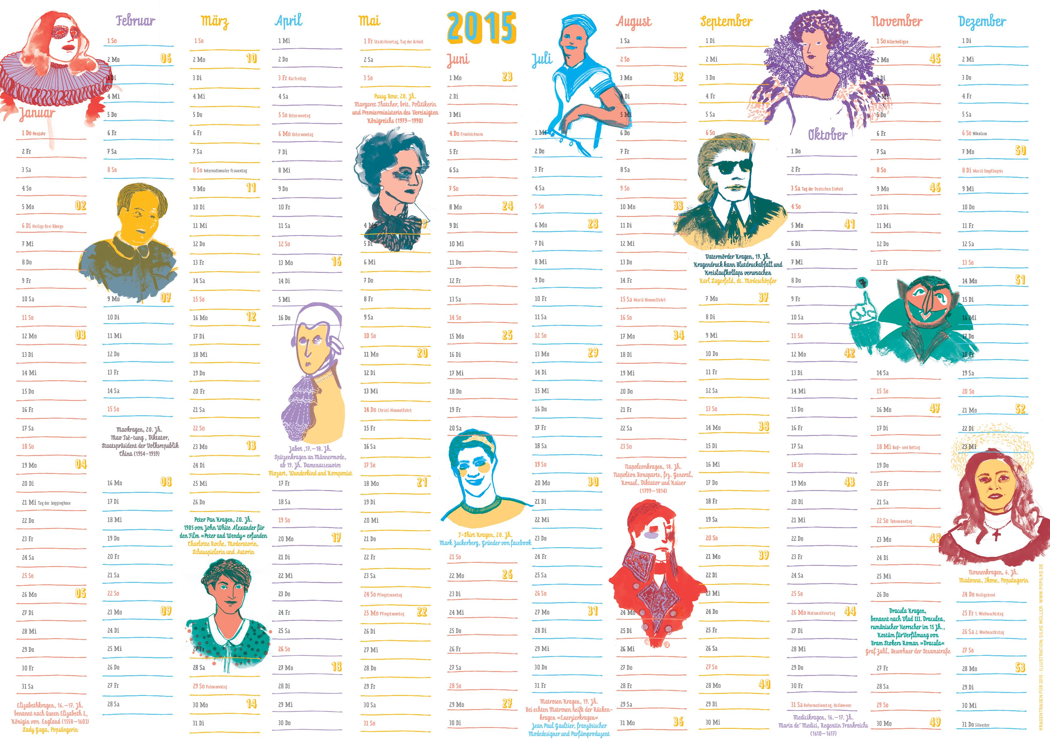 """Kalender """"Kragen tragen"""" , Illustration Silke Müller, Linz"""