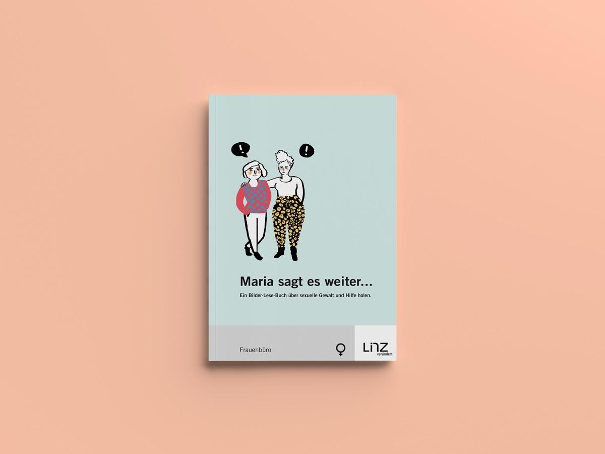 """Illustration für die Broschüre """"Maria sagt es weiter"""" Frauenbüro Linz"""