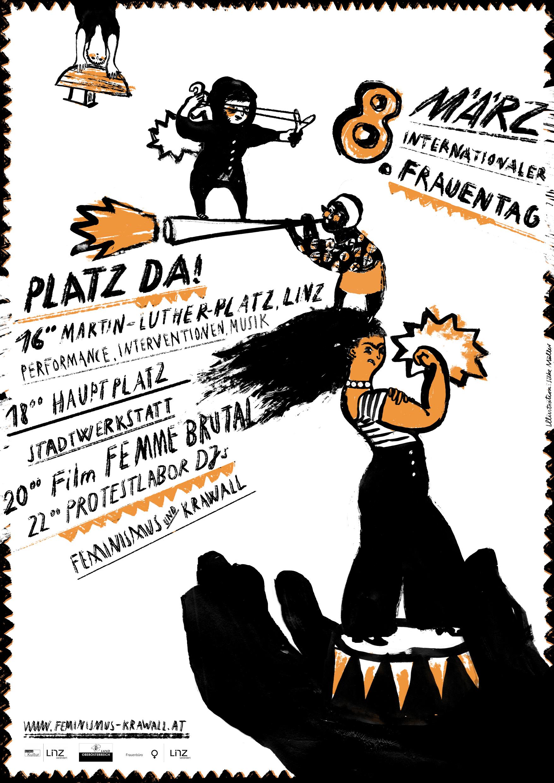 Plakat Feminismus & Krawall, 8. März 2016, Illustration Silke Müller