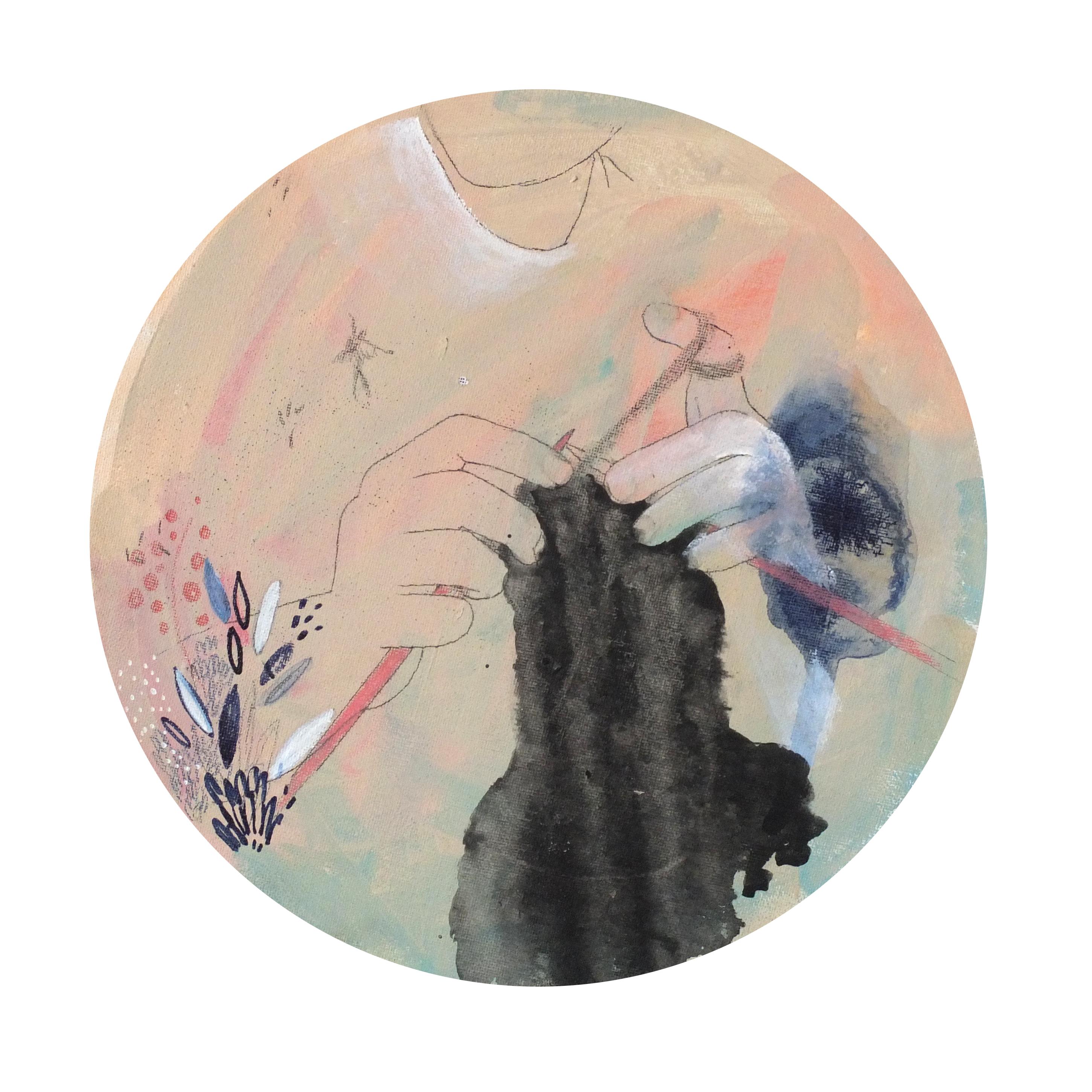 Zwei Hände stricken, das Gestrickte gleicht einen schwarzen Tintenfleck, der aussieht wie verweinte Wimperntusche, Trauer, Trauerarbeit, Illustration Silke Müller, Linz