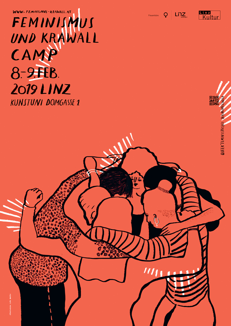 Feminismus & Krawall Camp 2019 in Linz | Illustration © Silke Müller