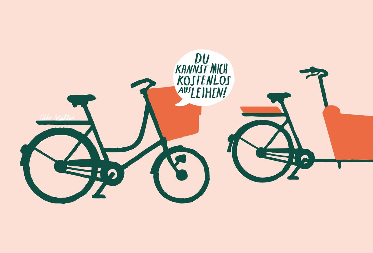 2 Lastenräder mit Sprechblase, die sagt: mich kannst du kostenlos ausleihen
