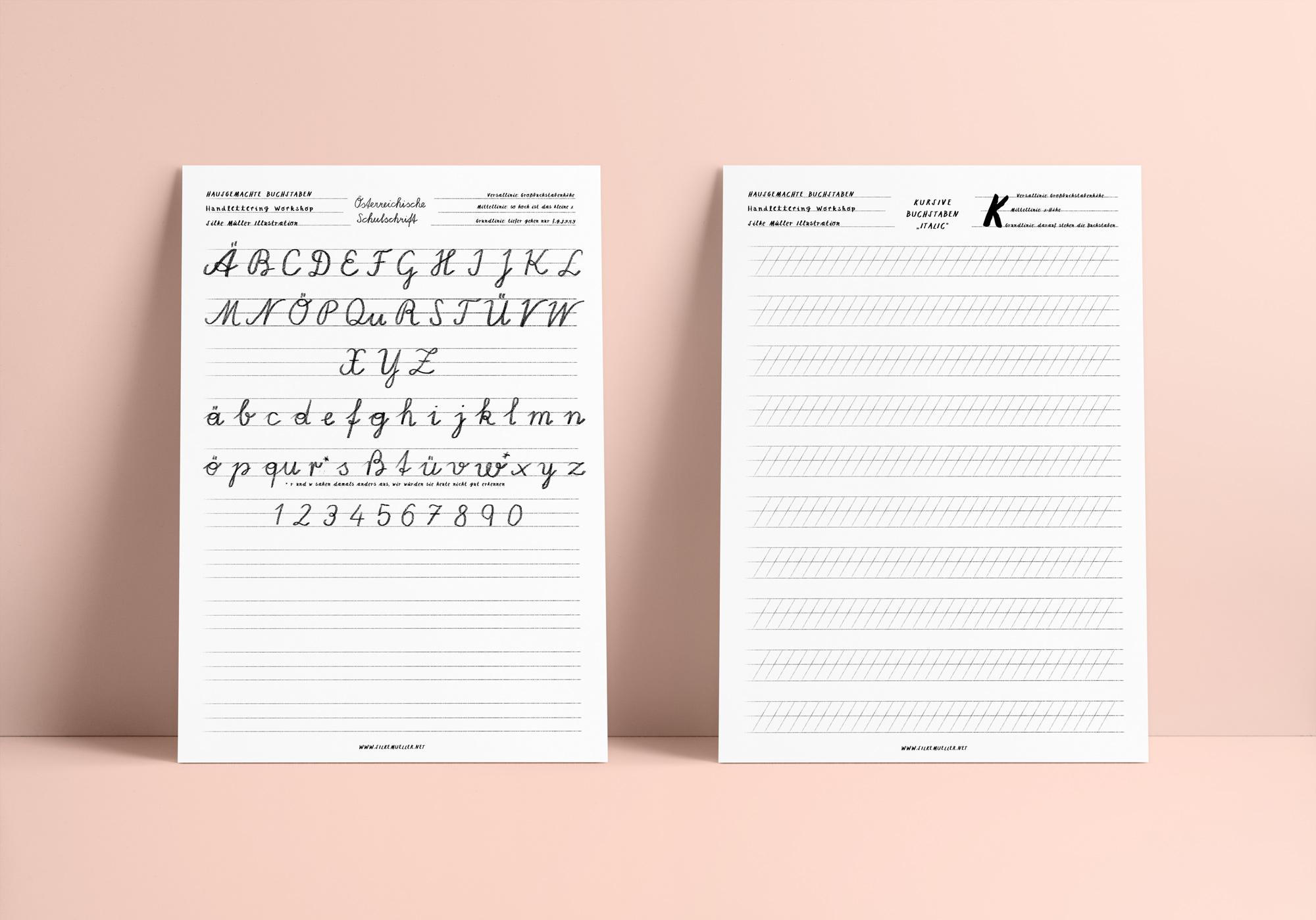 Österreichische Schulschrift, Freebie, Download, Linienblatt, Handlettering, Workshop