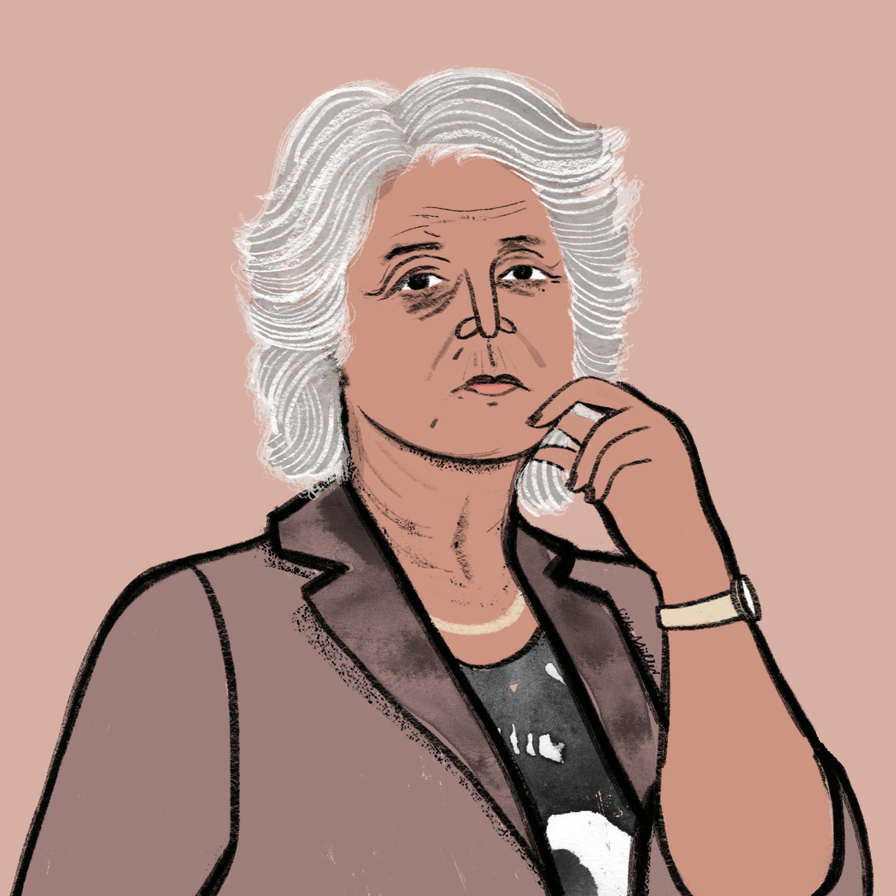 Heide Schmidt | Portraitillustration Silke Müller für Große Töchter Podcast von Beatrice Frasl