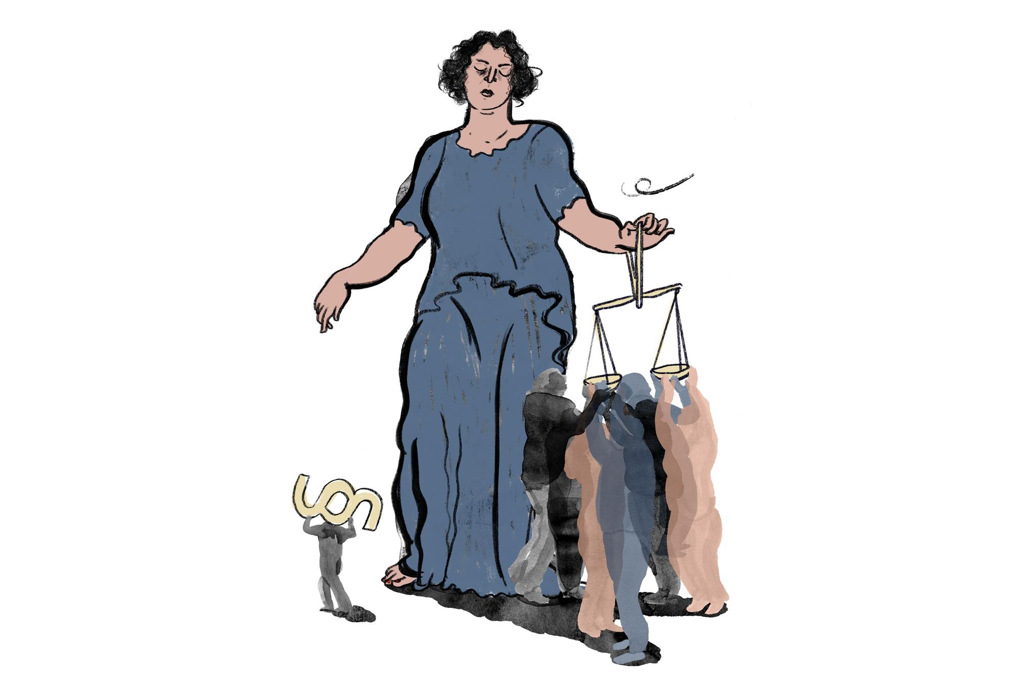 Justitia mit geschlossenen Augen hält eine Waage mit zwei Waagschalen, darunter stehen 7 Personen die die Schalen anheben und ausgleichen wollen, eine Figur geht links, das Paragraphenzeichen tragen aus dem Bild. Es sind also 8 wie im Geschworenen Gericht zugelassenen Personen.