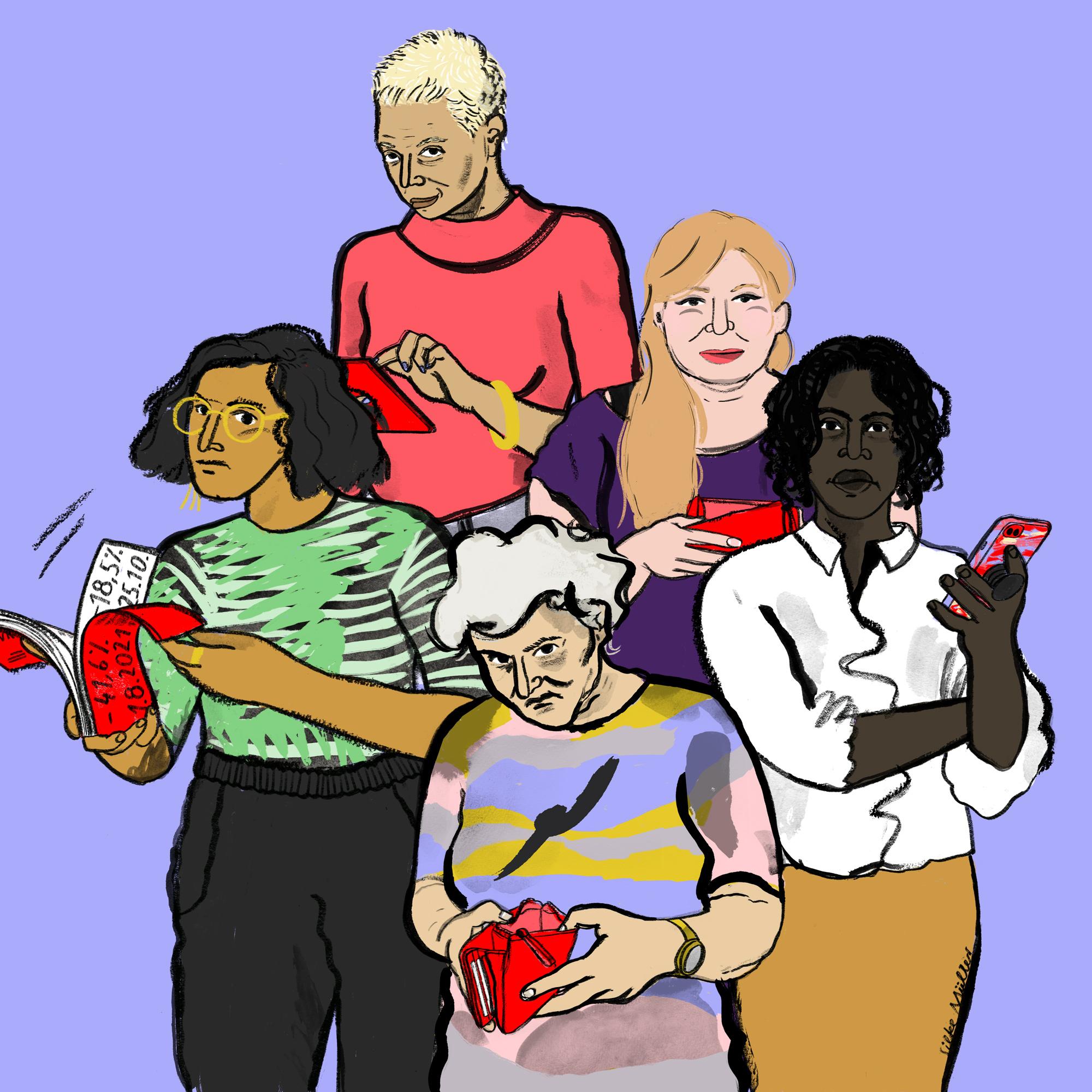 5 Frauen kontrollieren ihr Einkommen oder Bargeld, sie haben unterschiedlches Alter ca von 18-65 und sie haben unetrschiedliche Hautfarben. Sie halten Portmonnaies oder Kontoauszüge oder Handy oder tablet in der Hand. Sie schauen ernst und selbstbestimmt.